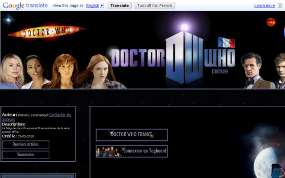 DoctorWho France: un site non-officiel de doctor who