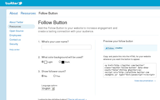 bouton follow twitter