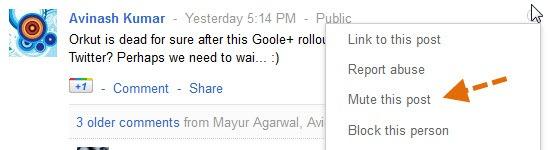 mute a post in google+