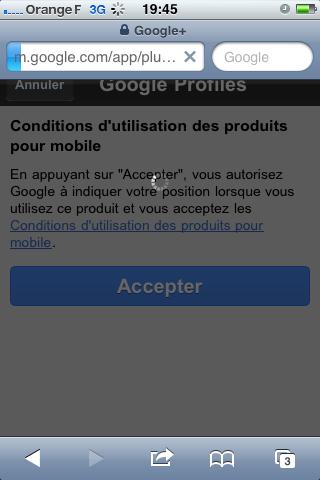 google+ geolocalisation conditions generales