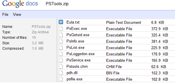 google docs fichiers zip rar