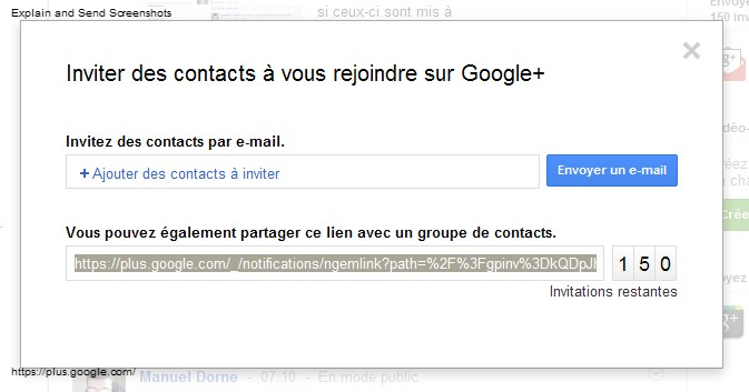 invitation google+ rejoindre inscription