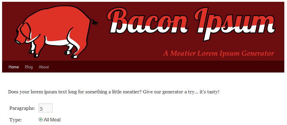 bacon ipsum generateur lorem ipsum fun