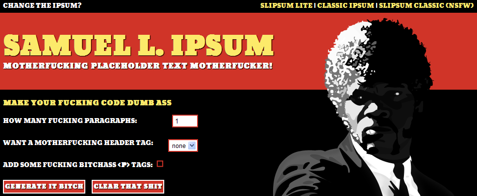 lorem ipsum slipsum samuel jackson pulp fiction generateur