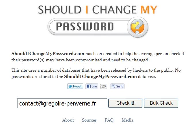 securité adresse email changer mot de passe