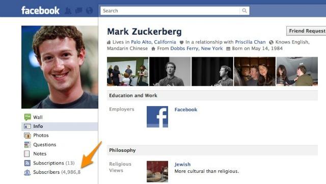 zuckerberg abonnés facebook abonnement fonctionnalité