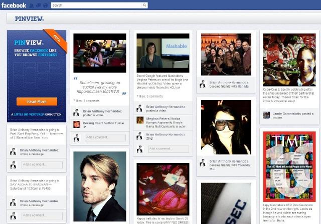 PinView Votre timeline facebook façon pinterest