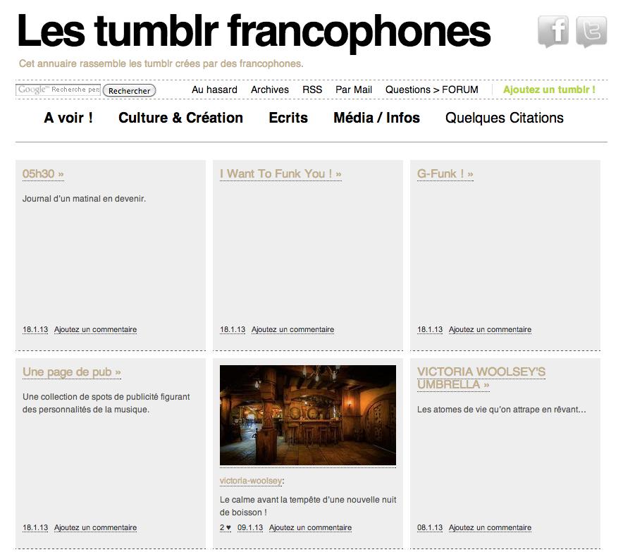 annuaire pour les tumblr francophones