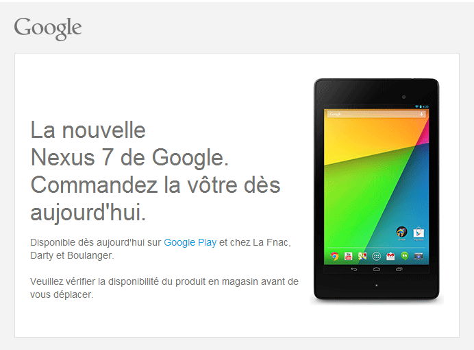 nexus7 disponible commande France