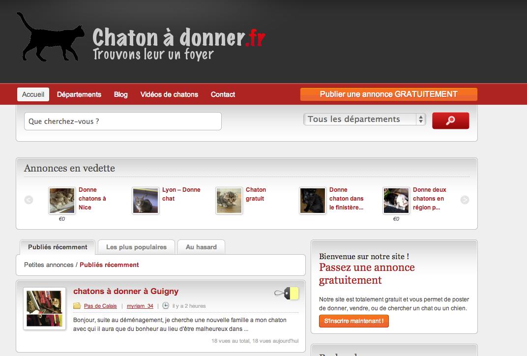 ChatonADonner - Le site pour donner ou récupérer un Chaton