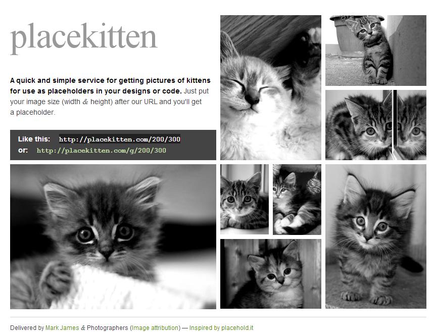 PlaceKitten - Utilisez des chats pour meubler votre design