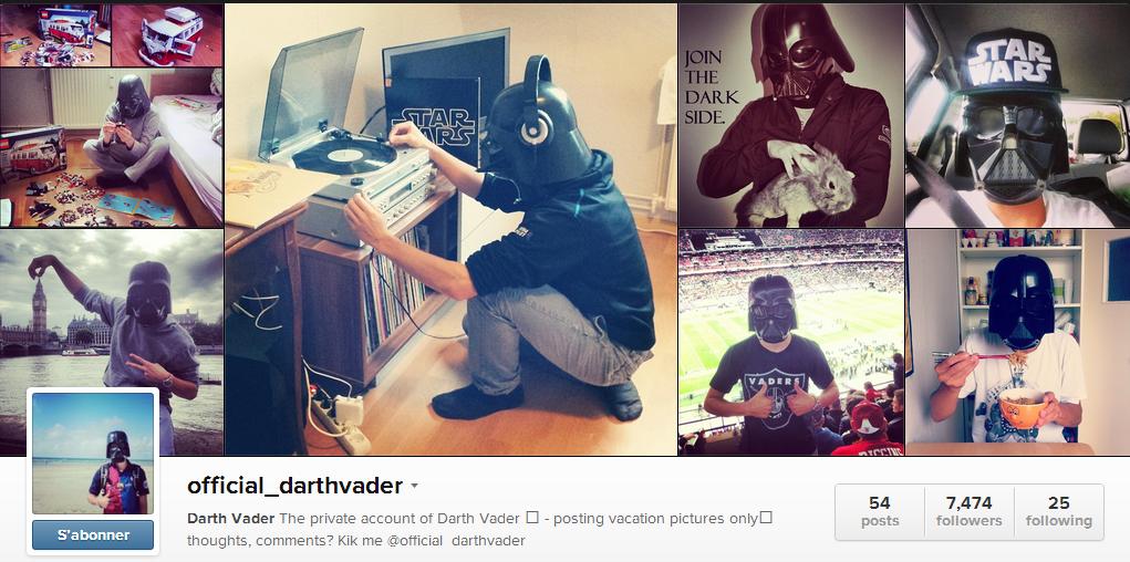 Le compte instagram officiel de Darth Vader?