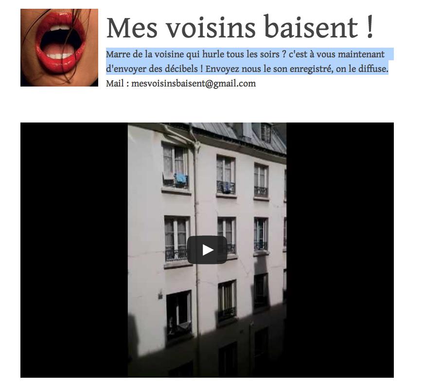 MesVoisinsBaisent: le tumblr pour vous venger de vos voisins