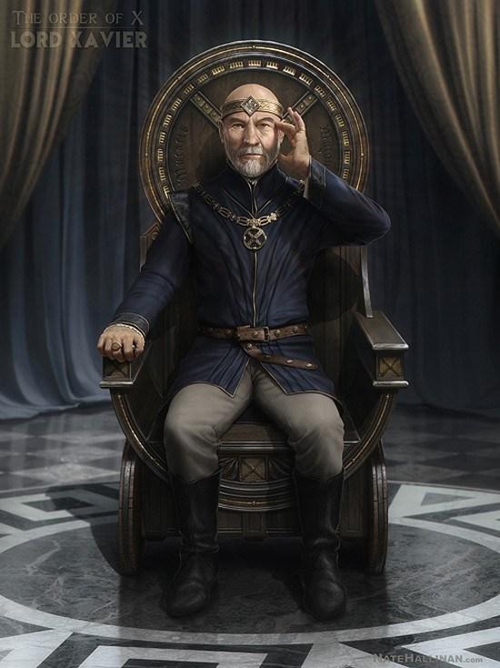 professeur xavier x men medieval geekart fanart geekndev gkdv